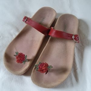 NAOT Sandals Red Leather Clip Toe Slides Sz 6.5